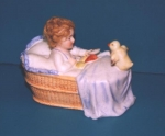 Click to view Child with Chick in Basket  Pottery Bank photos