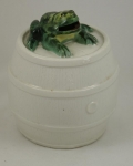 Click to view Frog on Barrel Pottery Still Bank photos