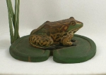 Click to view Frog on Lily Pad Wood Carving photos