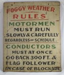 Click to view Antique Wooden Trolley Train Sign photos